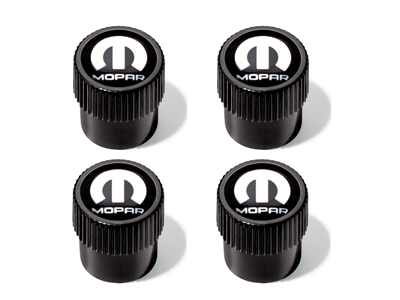 Wheel Valve Stem Caps - Black with Silver Mopar Logo - 82215722