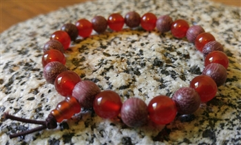 Purpleheart Wood & Carnelian Wrist Mala - Prayer Beads - 8mm (6 Pack) - NEW!