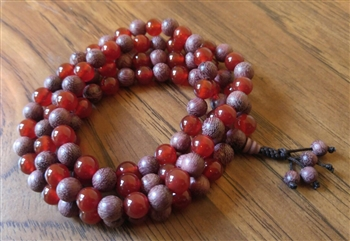 Carnelian & Purpleheart Wood 108 Bead Mala - Prayer Beads - 8mm (1 Pack)