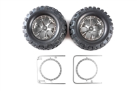 Tamiya 54483 (OP1483) Rock Block Tires - w/Tapered 6-Spoke Wheels High-Lift