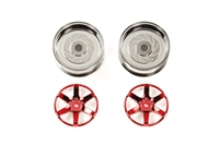 Tamiya Red Plated 2-Piece 6 Spoke Wheels 26mm Width + 2 Offset  54551