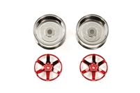 Tamiya Red Plated 2-Piece 6 Spoke Wheels 26mm Width + 6 Offset 54553