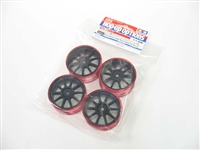 Tamiya Medium Narrow 10-Spoke Wheels Black & Red Rims ± 0 Offset 4pcs 84247