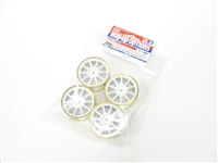 Tamiya Medium Narrow 10-Spoke Wheels White & Gold Rims ± 0 Offset 4pcs 84254