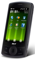 "ACER E100 beTouch C1 Unlocked QuadBand GPS HSDPA Cellular Phone Black - 1900/2100MHz WCDMA, 3.2"" Display, Accelerometer, 2MP Camera, Microsoft Windows Mobile 6.5 Professional"