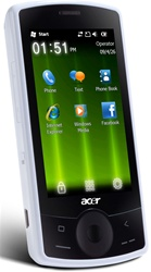 "ACER E100 beTouch C1 Unlocked QuadBand GPS HSDPA Cellular Phone White - 1900/2100MHz WCDMA, 3.2"" Display, Accelerometer, 2MP Camera, Microsoft Windows Mobile 6.5 Professional"