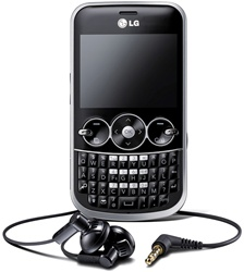 LG GW300 Unlocked QuadBand Cellular Phone Black - EDGE, 2MP Camera, QWERTY Keyboard, FM Radio