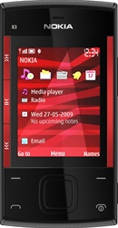 Nokia X3 Unlocked QuadBand Cellular Phone Red - EDGE, 3.2MP Camera, LED Flash, FM Radio