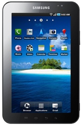 "Samsung P1000 Galaxy Tab 16GB Unlocked QuadBand GPS HSDPA WiFi GSM Tablet Black and White - 900/1900/2100MHz WCDMA, 7.0"" Display, Gorilla Glass, 3.15MP Camera, Accelerometer, Autofocus, LED Flash, Geo-Tagging, FM Radio, Cortex A8, Android OS v2.2 Froyo"