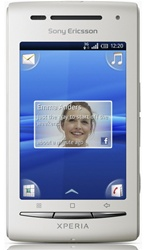 "Sony Ericsson XPERIA X8 E15 Unlocked QuadBand GPS WiFi HSDPA Cellular Phone E15i White - 900/2100MHz WCDMA, 2.55"" capacitive Display, Accelerometer, 5MP Camera, 3.5 mm audio jack, Timescape UI, Digital Compass, FM Radio, Android OS v1.6"