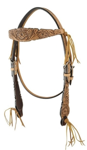 Bar H Equine® Floral Tooled Fringe Browband Headstall