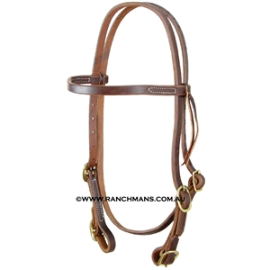 "Ranchman's 5/8"" Harness Leather Browband Four Buckle Bridle"