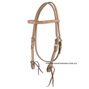 Ranchmans Barb Wire Stamp Browband Bridle