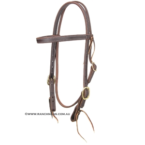 "Ranchmans 3/4"" Double & Stitched Browband Headstall"