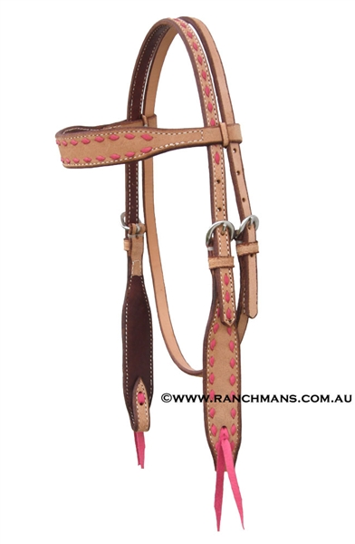 Ranchman's Pink Buckstitch Browband Bridle