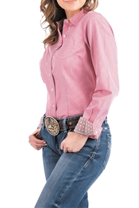 Cinch® Ladies Bright Pink & White Striped Western Button-Up Shirt