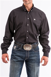 Mens Cinch® Solid Black Pinpoint Oxford Buttondown Shirt - Black