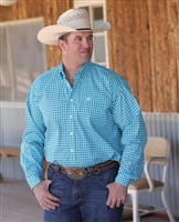 Mens Cinch® Long Sleeve Blue Diamond Shirt