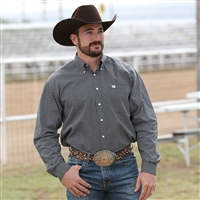 Mens Cinch® Long Sleeve Black & White Shirt