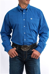 Mens Cinch® Long Sleeve Blue Geometric Shirt