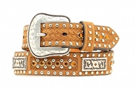 Nocona® Boys Amber Rhinestone Brown Leather Studded Belt