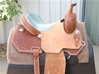 "SRS® 14"" Barrel Racer Saddle w/Faux Gator Turquoise Bicycle Seat"