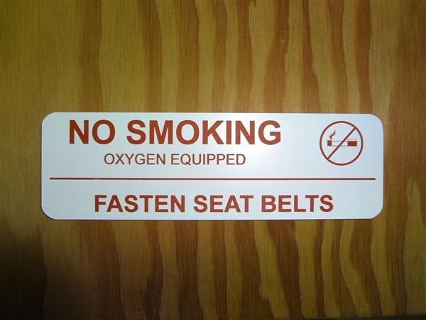No Smoking Fasten Seatbelt Placard