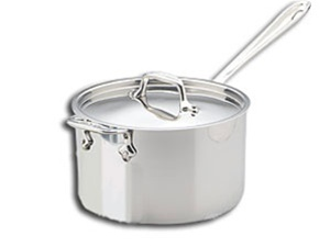 "8 x 4 11/16"" 4 QT All-Clad® Stainless Sauce Pan with Lid & Loop, cookware made in USA"