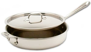 "10 1/2 x 2 9/16"" 3QT All-Clad® Stainless Saute Pan with Lid, cookware made in usa"