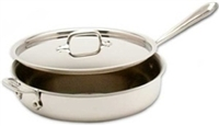 "10 1/2 x 3 1/4"" 4QT All-Clad®  Stainless Saute Pan with Lid, cookware made in USA"