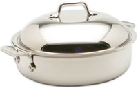 "10 1/2 x 3 1/4"" 4QT All-Clad® Stainless Sauteuse with Domed Lid, cookware made in USA"