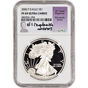 2000-P American Silver Eagle Proof - NGC PF69 UCAM - Jones Signed