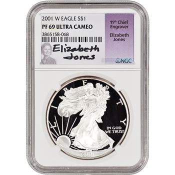 2001-W American Silver Eagle Proof - NGC PF69 UCAM - Jones Signed