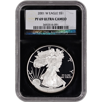 2001-W American Silver Eagle Proof - NGC PF69UCAM - 'Retro' Black Core