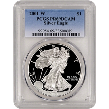 2001-W American Silver Eagle Proof - PCGS PR69DCAM