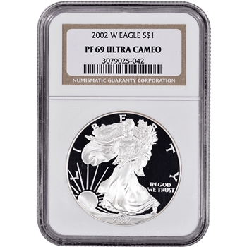 2002-W American Silver Eagle Proof - NGC PF69UCAM