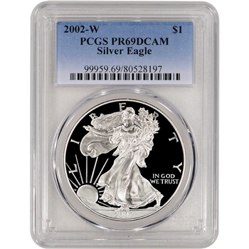 2002-W American Silver Eagle Proof - PCGS PR69DCAM