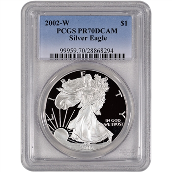 2002-W American Silver Eagle Proof - PCGS PR70 DCAM
