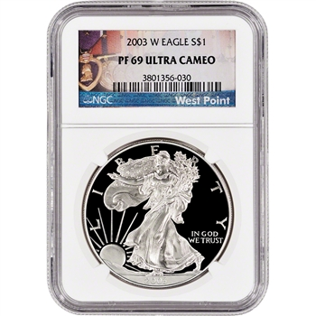 2003-W American Silver Eagle Proof - NGC PF69 UCAM - West Point Label