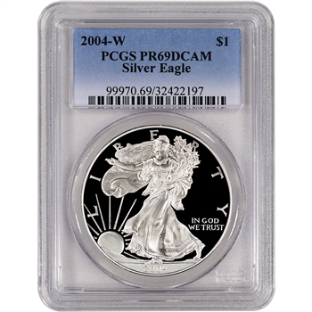 2004-W American Silver Eagle Proof - PCGS PR69DCAM
