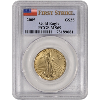 2005 American Gold Eagle (1/2 oz) $25 - PCGS MS69 - First Strike