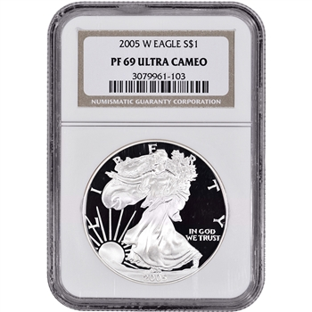 2005-W American Silver Eagle Proof - NGC PF69UCAM