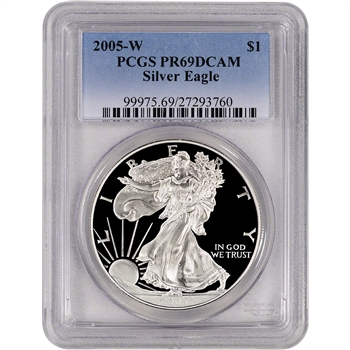 2005-W American Silver Eagle Proof - PCGS PR69DCAM