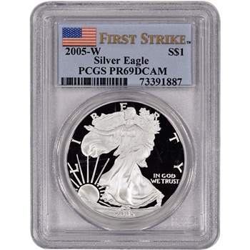 2005-W American Silver Eagle Proof - PCGS PR69DCAM - First Strike