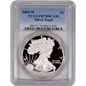 2005-W American Silver Eagle Proof - PCGS PR70DCAM