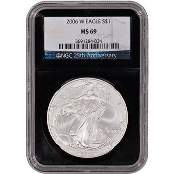 2006-W American Silver Eagle Uncirculated Burnished  NGC MS69 'Retro' Black Core