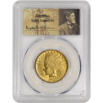 1907 US Gold $10 Indian Head Eagle - No Motto - PCGS AU58 - St. Gaudens Label