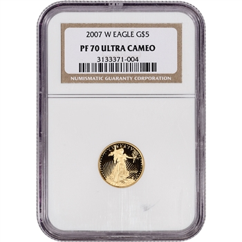 2007-W American Gold Eagle Proof (1/10 oz) $5 - NGC PF70 UCAM