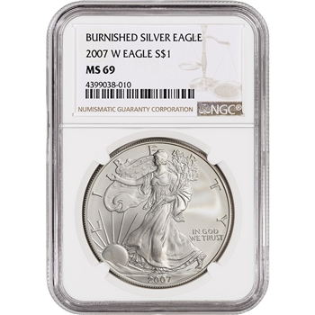 2007-W American Silver Eagle Burnished - NGC MS69