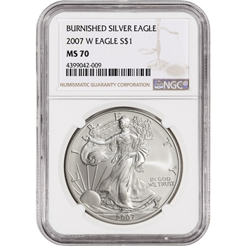 2007-W American Silver Eagle Burnished - NGC MS70